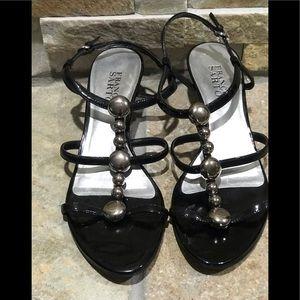 USED, Franco Sarto, black leather kitten heels